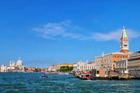 View of Grand Canal with in Venice, Italy. Venice is situated across a group of 117 small islands that are separated by canals and linked by bridges. Stock Photo
