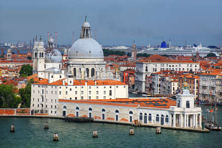 Basilica di Santa Maria della Salute on Punta della Dogana in Venice, Italy. This church was commisioned by Venice's plague survivors as thanks for salvation. Stock Photo