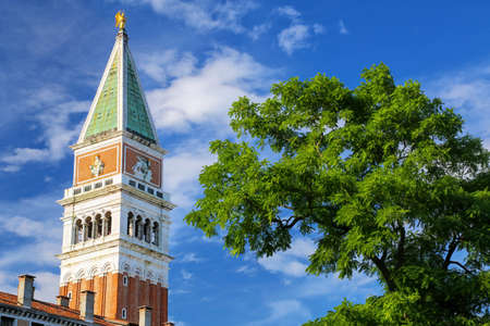 St Mark's Campanile at Piazza San Marco in Venice, Italy. It is one of the most recognizable symbols of the city. Stock Photo