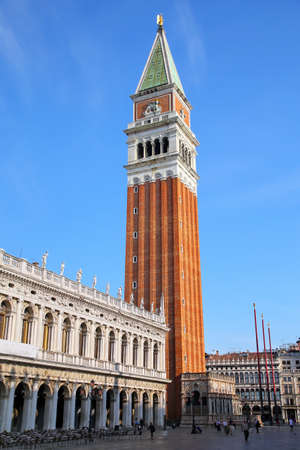 Piazzetta San Marco with St Mark's Campanile and Biblioteca in Venice, Italy. Campanile is one of the most recognizable symbols of the city.