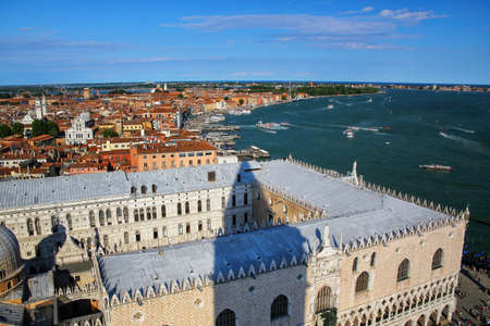 View of Palazzo Ducale and Grand Canal from St Mark's Campanile in Venice, Italy. The palace was the residence of the Doge of Venice. Stock Photo