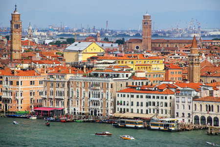 Buildings along Grand Canal in Venice, Italy. Venice is one of the most important tourist destinations in the world for its celebrated art and architecture