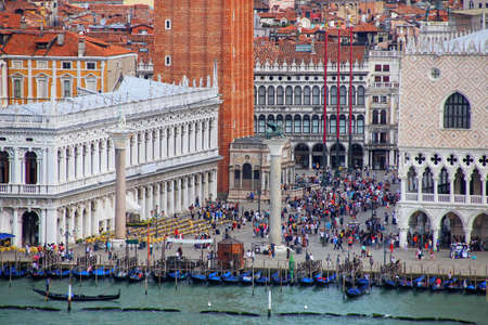 Piazzetta San Marco with Palazzo Ducale and St Mark's Campanile in Venice, Italy. Venice is one of the most important tourist destinations in the world for its celebrated art and architecture