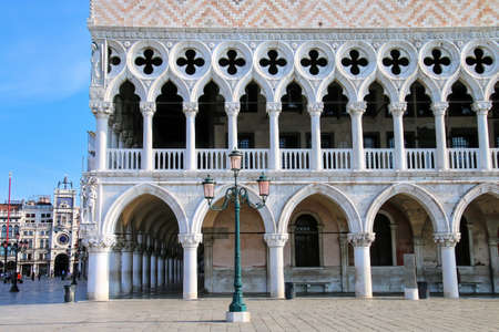 Close view of Palazzo Ducale at Piazza San Marco in Venice, Italy. The palace was the residence of the Doge of Venice. Editorial