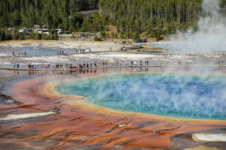 Close-up aerial view of Grand Prismatic Spring in Midway Geyser Basin, Yellowstone National Park, Wyoming, USA. It is the largest hot spring in the United States