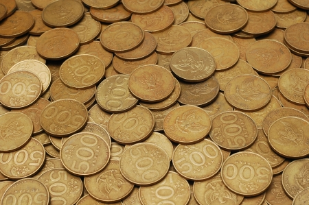 antique coins: scattered coins of rupiah.