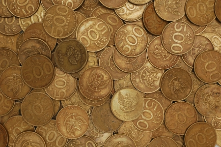 scattered coins of rupiah. photo