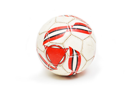 Used futsals ball with red triangle marking photo