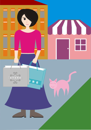 pinky: A woman with shopping bag standing beside a pinky cat.