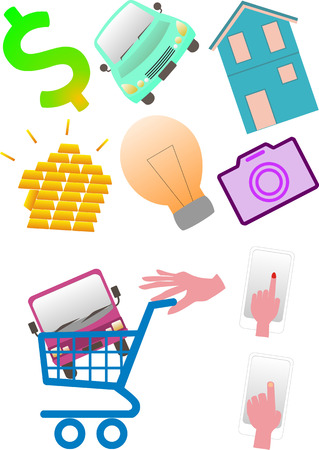 Buy luxury items over the internet and put them in a trolley Vector