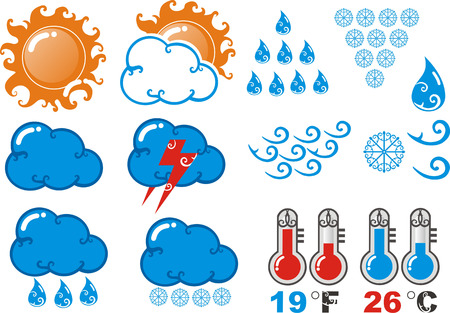 Classic design icons of weather forecasts with coiled tendrils. Vector