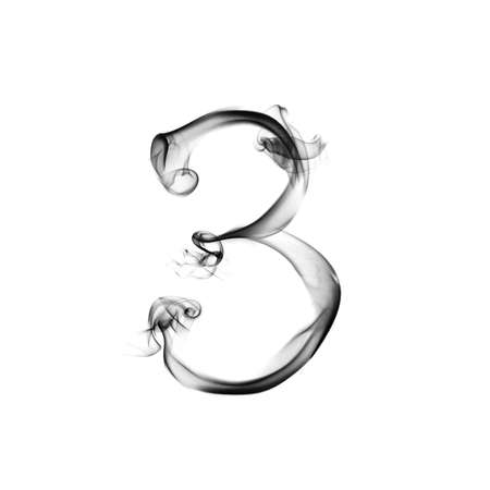 one number from a smoky alphabet isolated on white background Stock Photo