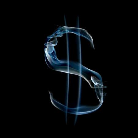 검은 배경에 고립 된 연기가 자욱한 알파벳에서 달러의 기호