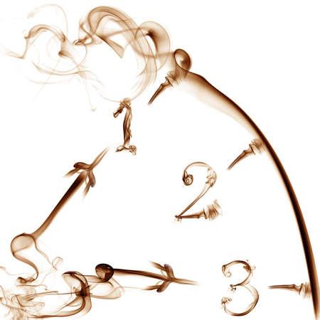 흰색 배경에 연기 시계 스톡 콘텐츠