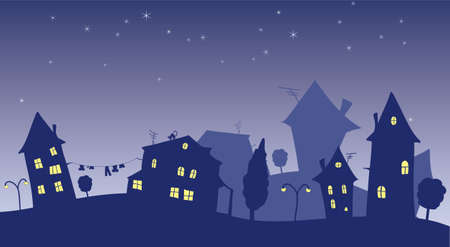 villages: vector cartoon cottages at night Illustration