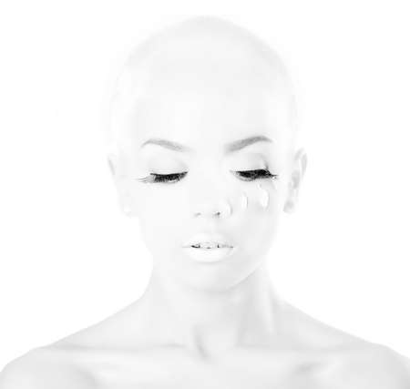 bald girl: bald girl on white background Stock Photo
