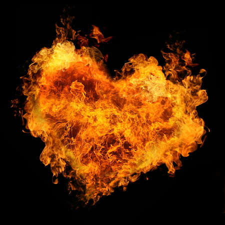 fiery heart on black background