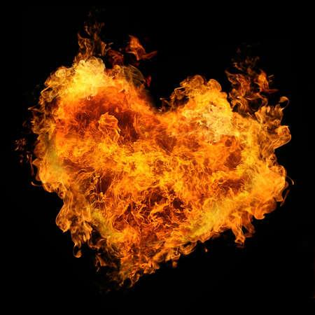 dangerous love: fiery heart on black background