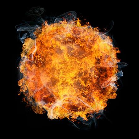 vurige planeet op zwarte achtergrond Stockfoto