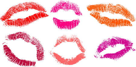 vector set of Red lipstick marks  일러스트