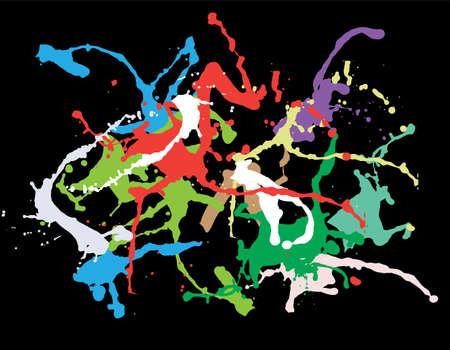 Colourful ink splat vector design on black background Illustration