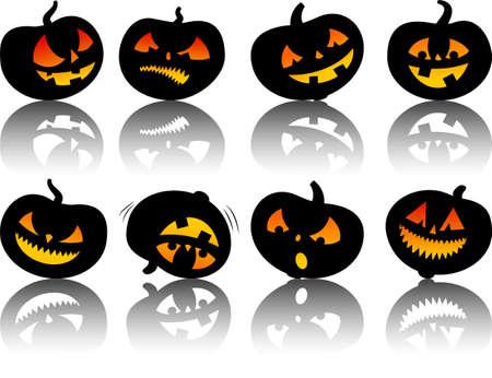 set of vector halloween pumpkins Vector