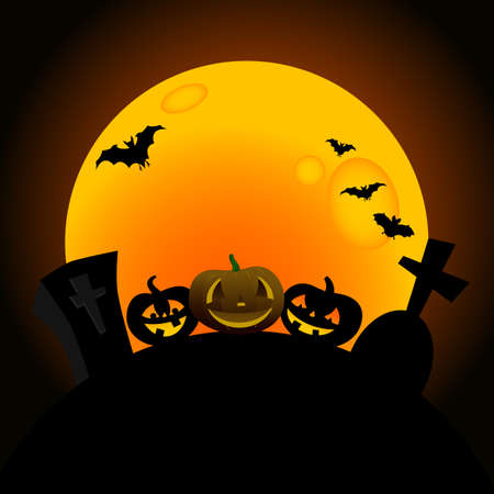 illustration of happy halloween pumpkins design