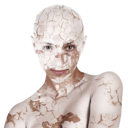 bald girl: concept photo of bald woman with dry skin