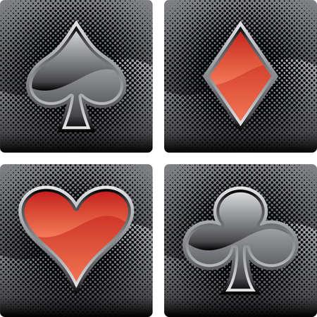 4 개의 벡터 카드 놀이 요소