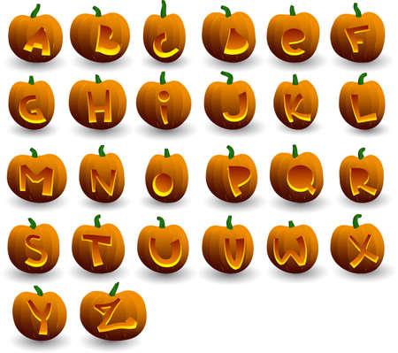 vector halloween pumpkins alphabet on white background