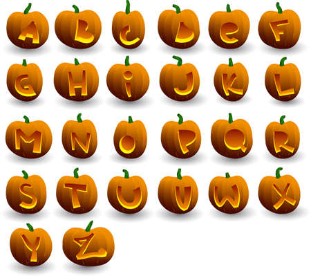 zucche halloween: halloween vector zucche alfabeto su sfondo bianco Vettoriali