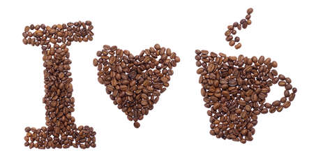 text i love coffe of coffee beans isolated on white background