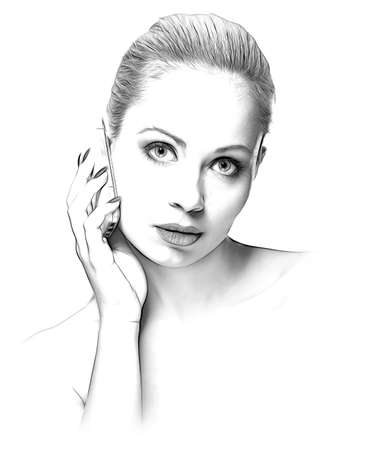 vintage look: sketch hand-drawing effect portrait of beauty woman with mobile phone on white background