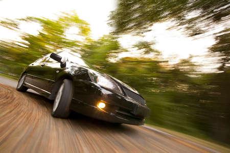 black automobile drifting on hight speed
