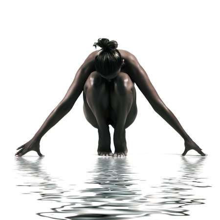 artistic nude studio shoot of woman on white background with water reflection