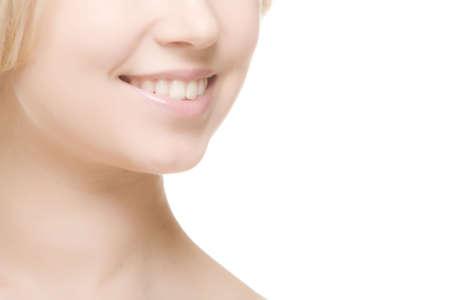 흰색 backgound에 웃는 여자 미소 스톡 콘텐츠 - 6521619