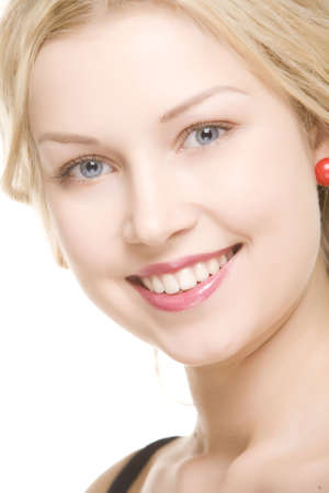 beautiful girl with pretty smile on white background Stock Photo