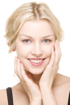 beautiful girl with pretty smile on white background Stok Fotoğraf