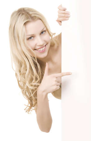 beautiful girl with pretty smile on white background Standard-Bild