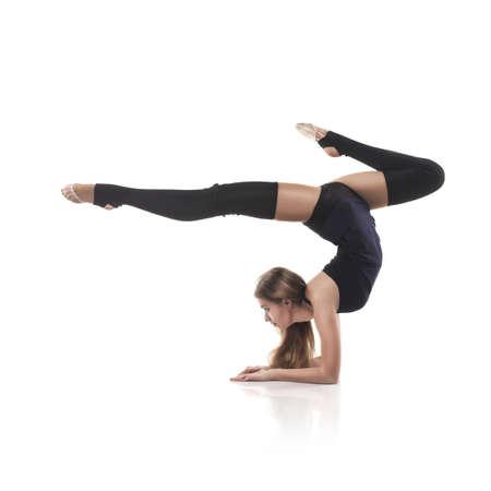 rhythmic: cute woman gymnast on white background
