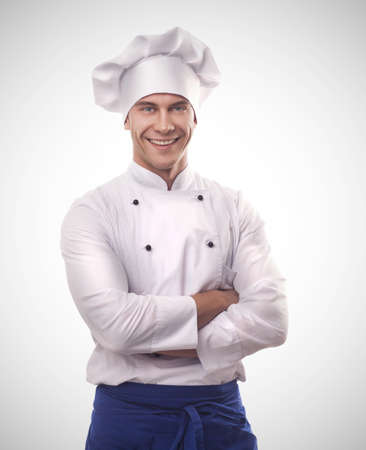 clean kitchen: A male chef Stock Photo