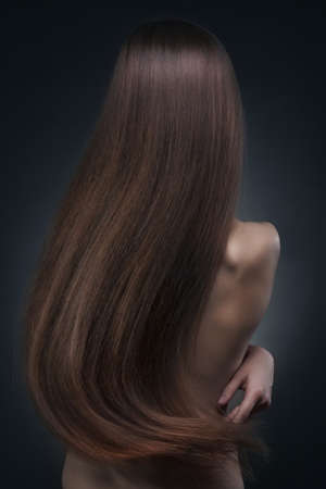 back straight: Beautiful long hair Stock Photo