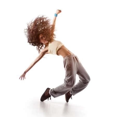 hübsche Frau Tänzerin isoliert auf weiß Standard-Bild