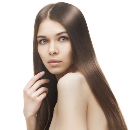 young beautiful woman with long glossy hair Stock Photo - 18656603