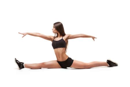 Woman doing stretching exercise photo