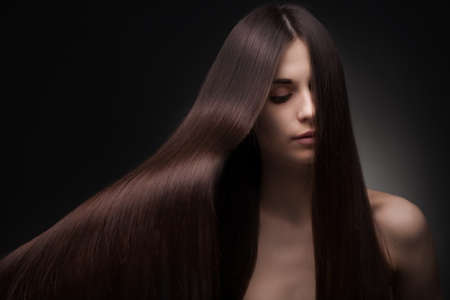 flying hair: beautiful woman with long hair Stock Photo