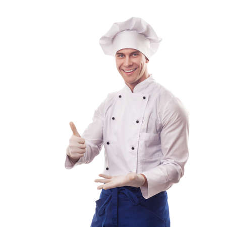 Chef standing with thumbs up photo