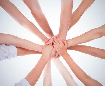 mani unite: mani anello lavoro di squadra Archivio Fotografico