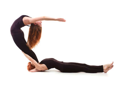 paired yoga on a white background photo