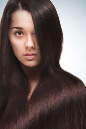 woman with long hair photo
